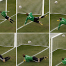 FILE - The June 27, 2010 file photo combo shows Germany goalkeeper Manuel Neuer looking at the ball that hit the bar to bounce over the line during the World Cup round of 16 soccer match between Germany and England at Free State Stadium in Bloemfontein, South Africa. FIFA will use goal-line technology in international matches for the first time at the Confederations Cup, starting with Saturday's, June 15, 2013 opening match between Brazil and Japan.  (AP Photo/Alessandra Tarantino)