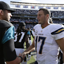 San Diego Chargers quarterback Philip Rivers, right, greets Jacksonville Jaguars quarterback Blake Bortles, left, after the Chargers beat the Jaguars in an NFL football game Sunday, Sept. 28, 2014, in San Diego. The Chargers won, 33-14. The Associated Pre