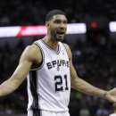 San Antonio Spurs' Tim Duncan (21) questions a foul call during the first half of Game 5 of the opening-round NBA basketball playoff series against the Dallas Mavericks, Wednesday, April 30, 2014, in San Antonio. (AP Photo/Eric Gay)