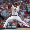 St. Louis Cardinals starting pitcher Jaime Garcia throws during the first inning of a baseball game against the Milwaukee Brewers, Friday, May 17, 2013, in St. Louis. (AP Photo/Jeff Roberson)
