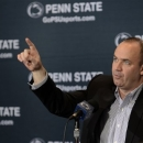 Penn State NCAA college football coach Bill O'Brien gestures during a news conference in State College, Pa., Monday, Jan. 7, 2013. (AP Photo/Ralph Wilson)