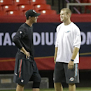 In this Friday, Aug. 8, 2014 file photo, Atlanta Falcons quarterback Matt Ryan, left, speaks with Miami Dolphins quarterback Ryan Tannehill before an NFL football game, in Atlanta The Associated Press