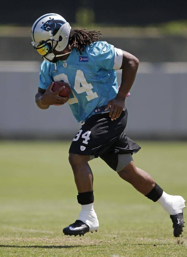 Carolina Panthers running back DeAngelo Williams (34) runs a drill during practice at NFL football minicamp in Charlotte, N.C., Thursday, June 13, 2013.Panthers quarterback Cam Newton and coach Ron Rivera feel the Panthers need to get their running backs more involved in the offense this year