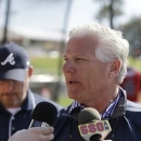 FILE - In this March 11, 2014, file photo, Atlanta Braves general manager Frank Wren meets the media before a spring exhibition baseball game against the Philadelphia Phillies in Kissimmee, Fla. The Braves have fired general manager Frank Wren. The move was announced Monday, Sept. 22, 2014, by team president John Schuerholz, one day after the team was eliminated from the NL playoff race. (AP Photo/Carlos Osorio, File)