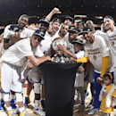 OAKLAND, CA - MAY 27: The Golden State Warriors celebrate winning Game Five of the Western Conference Finals against the Houston Rockets during the 2015 NBA Playoffs on May 27, 2015 at ORACLE Arena in Oakland, California. (Photo by Andrew D. Bernstein/NBAE via Getty Images)