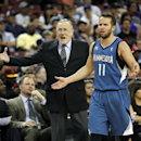 Minnesota Timberwolves head coach Rick Adelman, left, and guard Jose Barea react to an official's call during the second half of an NBA basketball game against the Sacramento Kings in Sacramento, Calif., on Sunday, April 13, 2014. The Kings won 106-103.(AP Photo/Steve Yeater)