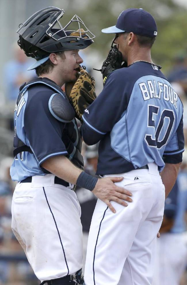 Tampa Bay Rays catcher Ryan Hanigan speaks with pitcher Grant Balfour on the mound in the fourth inning of an exhibition baseball game, Wednesday, March 5, 2014, in Port Charlotte, Fla. The Rays defeated the Yankees 5-4