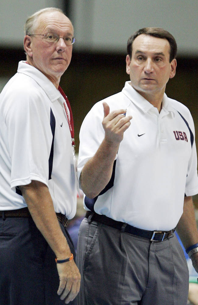In this Aug. 23, 2006, file photo,  USA head coach Mike Krzyzewski, right, gestures as assistant coach Jim Boeheim, left, looks on during their first round game at the world basketball championships against Italy in Sapporo, northern Japan. Second-ranked Syracuse, coached by Boeheim, awaits the arrival of No. 17 Duke, coached by Krzyzewski, on Saturday night on the eve of the Super Bowl for a pivotal Atlantic Coast Conference showdown