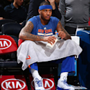 NEW YORK, NY - JANUARY 19: Carmelo Anthony #7 of the New York Knicks warms up before the game against the New Orleans Pelicans on January 19, 2015 at Madison Square Garden in New York City, New York. (Photo by Nathaniel S. Butler/NBAE via Getty Images)