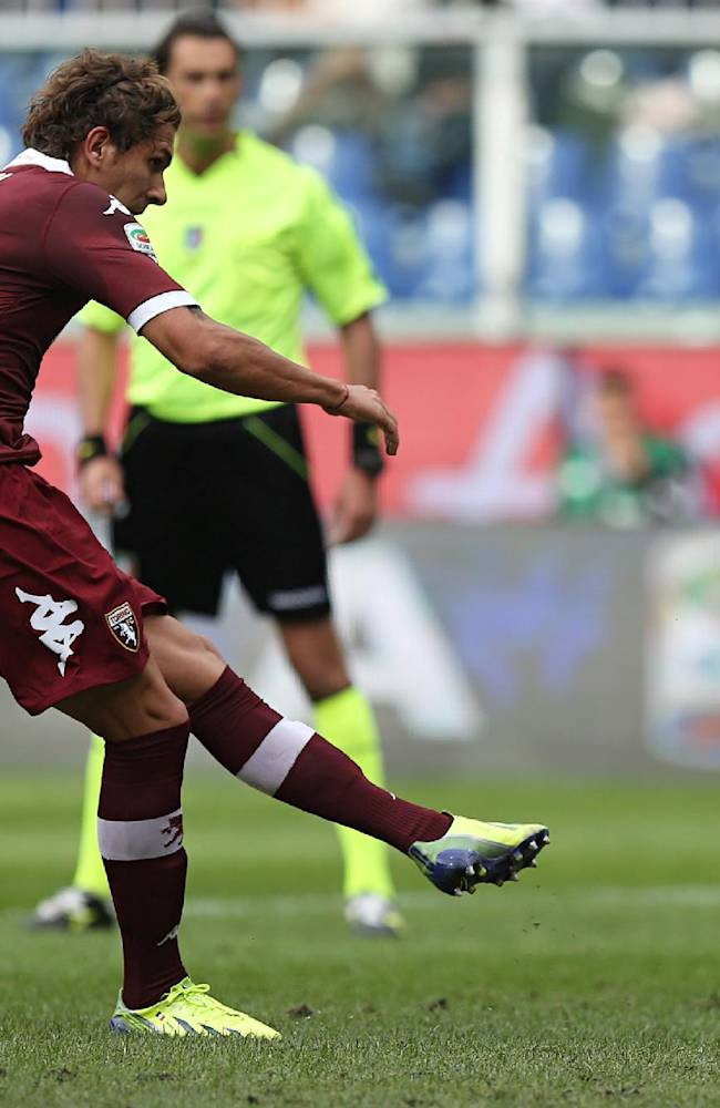 Torino midfielder Alessio Cerci scores on a penalty kick during a Serie A soccer match between Sampdoria and Torino, in Genoa, Italy, Sunday, Oct. 6, 2013