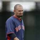 Boston Red Sox right fielder Shane Victorino, walks on the field between innings during an exhibition baseball game against the Minnesota Twins in Fort Myers, Fla., Friday, March 28, 2014. The Red Sox won 4-0 The Associated Press