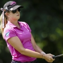 Paula Creamer tees off on the second hole during the final round of the Marathon Classic golf tournament at Highland Meadows Golf Club in Sylvania, Ohio, Sunday, July 21, 2013. (AP Photo/Rick Osentoski)