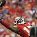 Kansas City Chiefs wide receiver Donnie Avery (17) stretches but cannot reach a pass during the first half of an NFL preseason football game against the Minnesota Vikings in Kansas City, Mo., Saturday, Aug. 23, 2014 The Associated Press