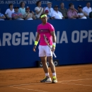 Rafael Nadal of Spain reacts after losing a point against Carlos Berlocq of Argentina during the ATP Argentina Open match in