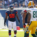 Chicago Bears outside linebacker Lance Briggs (55) lines up against the Green Bay Packers during an NFL game at Soldier Field in Chicago on Sunday, Sept. 28, 2014. (Jeff Haynes/AP Images for Panini) The Associated Press
