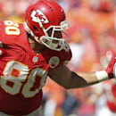 Kansas City Chiefs tight end Anthony Fasano (80) stiff-arms Tennessee Titans safety Michael Griffin in the second half of an NFL football game in Kansas City, Mo., Sunday, Sept. 7, 2014 The Associated Press