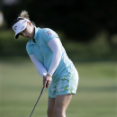 Morgan Pressel putts on the 11th hole during the first round of the ShopRite LPGA Classic golf tournament, Friday, May 29, 2015, in Galloway Township, N.J. (AP Photo/Mel Evans)