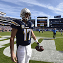 Chargers quarterback Philip Rivers warms up before Sunday's game in San Diego. (AP)