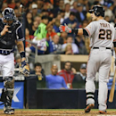 San Francisco Giants' Buster Posey argues with home plate umpire Gabe Morales after being called out on strikes in the seventh inning of a baseball game against the San Diego Padres, Saturday, April 19, 2014, in San Diego The Associated Press