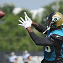 The Jacksonville Jaguars Marcedes Lewiscatckhers a pass as the team trains in full pads on Wednesday July 30, 2014, on the Florida Blue Health & Wellness Practice Fields at EverBank Field in Jacksonville, Fla The Associated Press