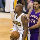 Indiana Pacers' David West reacts after being called for an offensive foul during the second half of an NBA basketball game a