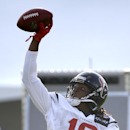 Houston Texans wide receiver DeAndre Hopkins (10) catches a pass with one hand during an NFL training camp practice Wednesday, Aug. 13, 2014, in Houston The Associated Press