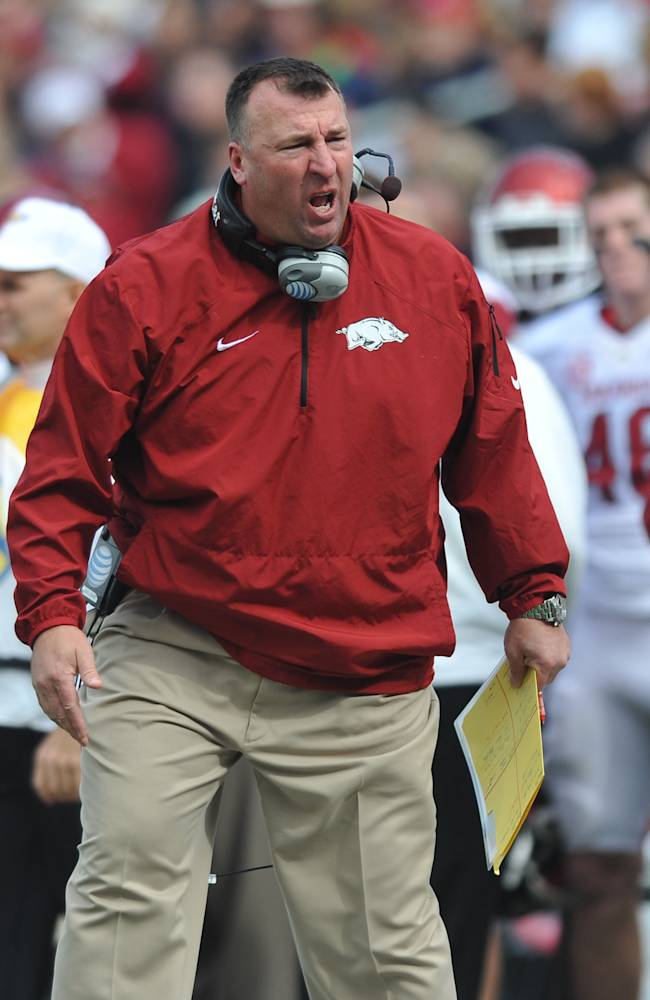 Arkansas coach Bret Bielema reacts to a play during an NCAA college football game against Mississippi at Vaught-Hemingway Stadium Saturday, Nov. 9, 2013, in Oxford, Miss