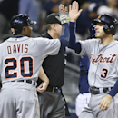 Detroit Tigers' Rajai Davis and Ian Kinsler high-*five after scoring on a double by Austin Jackson in the ninth inning of the Tigers' 6-2 victory in a baseball game against the San Diego Padres Saturday, April 12, 2014, in San Diego The Associated Press