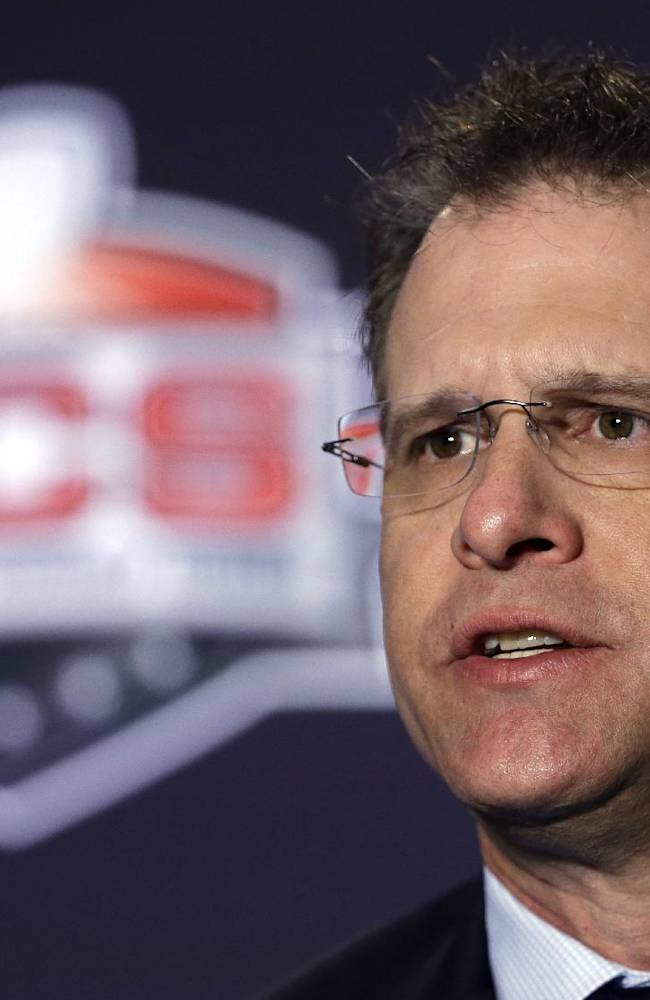 Auburn head coach Gus Malzahn answers a question during a news conference for the NCAA BCS National Championship college football game Sunday, Jan. 5, 2014, in Newport Beach, Calif. Florida State plays Auburn on Monday, Jan. 6, 2014