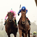 FILE - In this Feb. 7, 2015, file photo provided by Benoit Photo, Dortmund, right, and jockey Martin Garcia, hold off Firing Line and jockey Gary Stevens to win the Grade III $150,000 Robert B. Lewis Stakes horse race at Santa Anita Park in Arcadia, Calif. Firing Line moves up the latest list of the AP's Top 10 Kentucky Derby contenders, and this weekend's Florida Derby promises to shake up the rankings even more. (AP Photo/Benoit Photo, File)