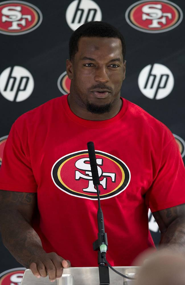 San Francisco 49ers linebacker Patrick Willis speaks during a press conference at the Grove Hotel in Chandler's Cross, England, Thursday, Oct. 24, 2013.  The San Francisco 49ers are due to play the the Jacksonville Jaguars at Wembley stadium in London on Sunday, Oct. 27 in a regular season NFL game