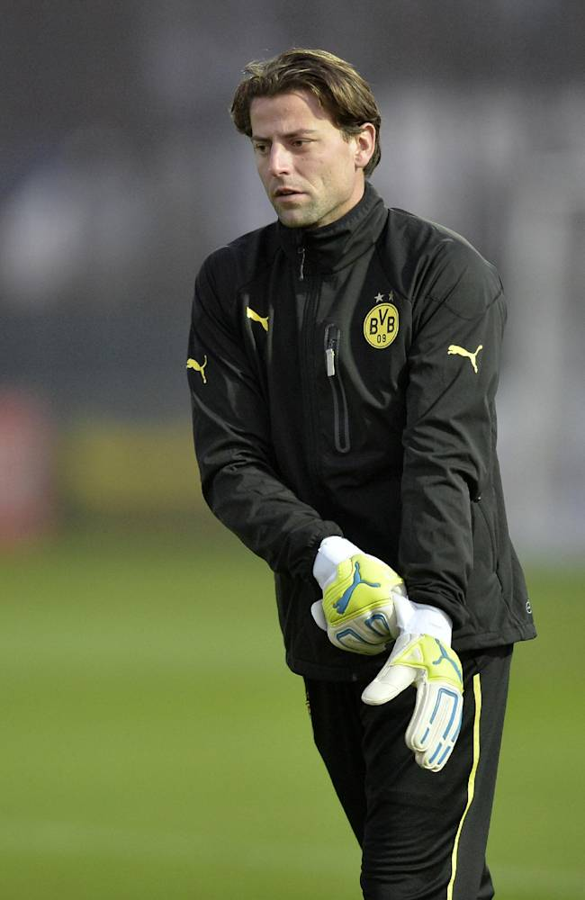 Dortmund goalkeeper Roman Weidenfeller puts on his gloves during a training session prior the Champions League Group F soccer match between Borussia Dortmund and SSC Napoli in Dortmund, Germany, Monday, Nov. 25, 2013