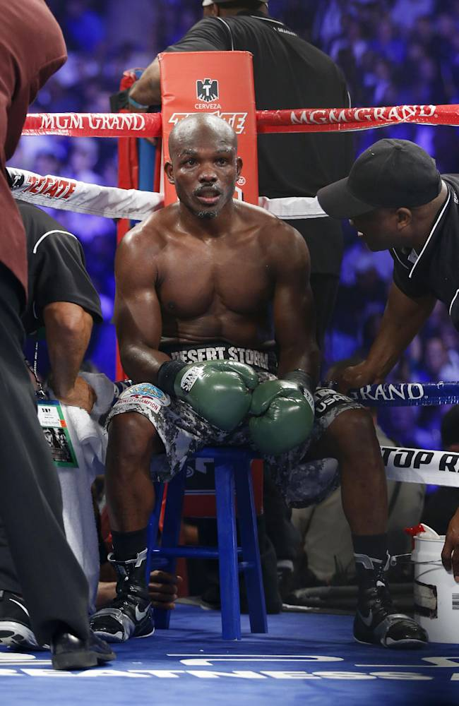 Timothy Bradley waits for the start of the next round during his WBO World Welterweight championship boxing match against Manny Pacquiao of the Philippines, Saturday, April 12, 2014, at The MGM Grand Garden Arena in Las Vegas. Pacquiao won by unanimous decision