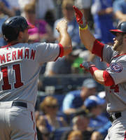 Washington Nationals' Bryce Harper, right, is congratulated by teammate Ryan Zimmerman (11) after hitting a two-run home run to tie a baseball game in the seventh inning against the Kansas City Royals at Kauffman Stadium in Kansas City, Mo., Sunday, Aug. 25, 2013. (AP Photo/Colin E. Braley)