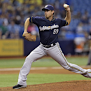 Milwaukee Brewers relief pitcher Zach Duke delivers to the Tampa Bay Rays during the ninth inning of an interleague baseball game Wednesday, July 30, 2014, in St. Petersburg, Fla. (AP Photo/Chris O'Meara)