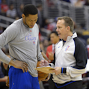 Los Angeles Clippers forward Danny Granger, left, talks to an official prior to the Clippers' NBA basketball game against the New Orleans Pelicans, Saturday, March 1, 2014, in Los Angeles. (AP Photo/Mark J. Terrill)