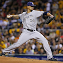 Milwaukee Brewers starting pitcher Kyle Lohse delivers during the fourth inning of a baseball game against the Pittsburgh Pirates in Pittsburgh on Friday, April 18, 2014 The Associated Press