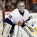 New York Islanders' Kevin Poulin in an NHL hockey game with the Philadelphia Flyers, Saturday, Jan. 18, 2014, in Philadelphia The Associated Press