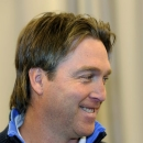 Patrick Roy shares a chuckle at an event for 2010 inductees for Canada's Sports Hall of Fame in Calgary on Wednesday Nov. 10, 2010. THE CANADIAN PRESS/Larry MacDougal
