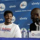 Philadelphia 76ers 'Andrew Bynum, left, shares a laugh with Jason Richardson during a news conference in Philadelphia, Wednesday, Aug. 15, 2012. Bynum was traded to the 76ers from the Los Angeles Lakers. Richardson was traded to the 76ers from the Orlando Magic. (AP Photo/Brynn Anderson)