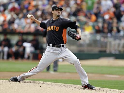 San Francisco Giants starting pitcher Ryan Vogelsong throws against the Oakland Athletics in the first inning of their exhibition baseball game, Saturday, March 30, 2013, in Oakland, Calif