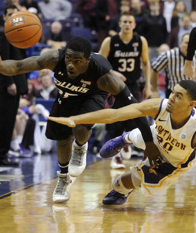 Southern Illinois' Anthony Beane, left, and Northern Iowa's Jeremy Morgan (20) dive for a loose ball in the second half of an NCAA college basketball game in the quarterfinals of the Missouri Valley Conference men's tournament, Friday, March 7, 2014, in St. Louis