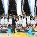 MADRID, SPAIN - SEPTEMBER 14: The USA Men's National Team pose for a photo with the gold medals and the World Cup trophy after defeating the Serbia National Team during the 2014 FIBA World Cup Finals at Palacio de Deportes on September 14, 2014 in Madrid, Spain. (Photo by Jesse D. Garrabrant/NBAE via Getty Images)