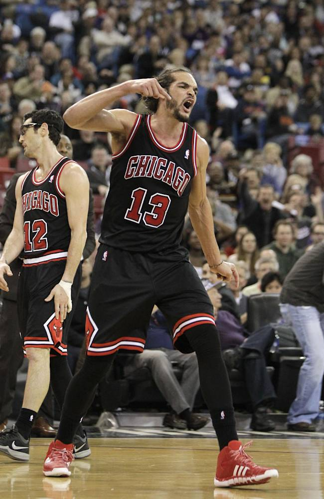 Chicago Bulls center Joakim Noah shouts after getting his second technical foul and was ejected from the game in the third quarter against the Sacramento Kings in a NBA basketball game in Sacramento, Calif., Monday, Feb. 3, 2014. The Kings won 99-70