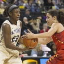 Wake Forest's Lakevia Boykin (22) has the ball stripped by Maryland's Chloe Pavlech, right, during the first half of an NCAA college basketball game in Winston-Salem, N.C., Friday, Feb. 8, 2013. (AP Photo/Lynn Hey)