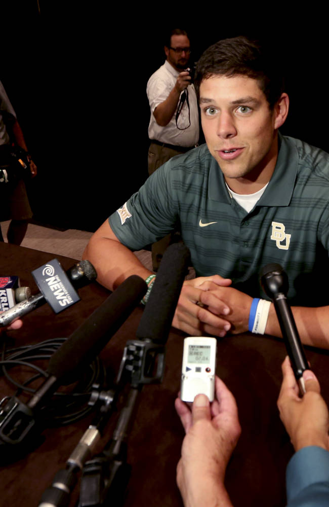 Baylor quarterback Bryce Perry speaks to reporters during the NCAA college Big 12 Conference Football media days in  Dallas, Monday, July 21, 2014