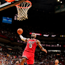 MIAMI, FL - FEBRUARY 12: LeBron James #6 of the Miami Heat dunks on a fast break against the Portland Trail Blazers on February 12, 2013 at American Airlines Arena in Miami, Florida. (Photo by Issac Baldizon/NBAE via Getty Images)