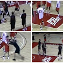 In this four-image combo taken from an ESPN video, Rutgers men's basketball coach Mike Rice kicks, shoves, and throws balls at his players during NCAA college basketball practices in Piscataway, N.J. Fueled by outrage from even the governor when the video went public, Rutgers fired Rice on Wednesday, April 3, 2013, after deciding it didn't go far enough by suspending and fining him for shoving, kicking and throwing balls at players along with spewing gay slurs. (AP Photo/ESPN)