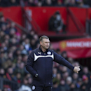 Leicester's manager Nigel Pearson stands on the touchline during the English Premier League soccer match between Manchester United and Leicester at Old Trafford Stadium, Manchester, England, Saturday Jan. 31, 2015