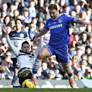Chelsea's Branislav Ivanovic, right, controls the ball during an English Premier League soccer match against Everton at the Stamford Bridge ground in London, Saturday, Feb. 22, 2014. Chelsea won the match 1-0